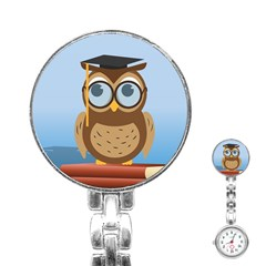 Read Owl Book Owl Glasses Read Stainless Steel Nurses Watch by Nexatart