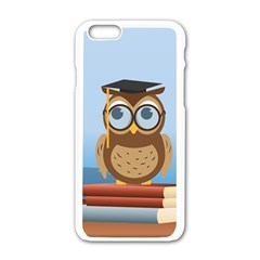 Read Owl Book Owl Glasses Read Apple Iphone 6/6s White Enamel Case by Nexatart