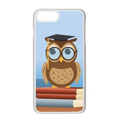 Read Owl Book Owl Glasses Read Apple Iphone 7 Plus White Seamless Case