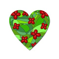 Flowers Heart Magnet by Valentinaart