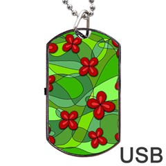 Flowers Dog Tag Usb Flash (two Sides) by Valentinaart