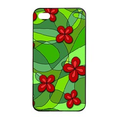 Flowers Apple Iphone 4/4s Seamless Case (black) by Valentinaart