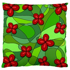 Flowers Large Cushion Case (two Sides) by Valentinaart