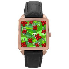 Flowers Rose Gold Leather Watch