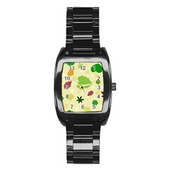 Leaves Pattern Stainless Steel Barrel Watch by Nexatart
