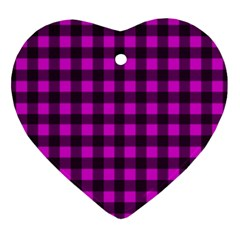Magenta And Black Plaid Pattern Ornament (heart) by Valentinaart