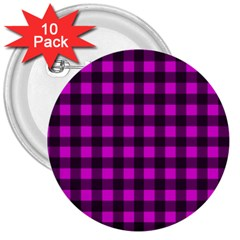 Magenta And Black Plaid Pattern 3  Buttons (10 Pack)