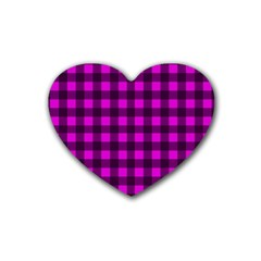 Magenta And Black Plaid Pattern Heart Coaster (4 Pack)  by Valentinaart