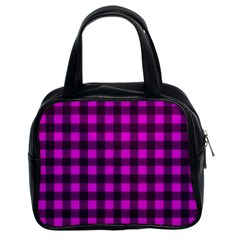 Magenta And Black Plaid Pattern Classic Handbags (2 Sides) by Valentinaart