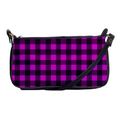 Magenta And Black Plaid Pattern Shoulder Clutch Bags by Valentinaart