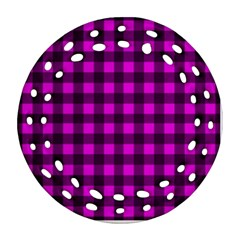 Magenta And Black Plaid Pattern Round Filigree Ornament (two Sides) by Valentinaart