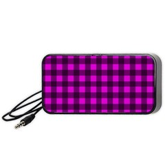 Magenta And Black Plaid Pattern Portable Speaker (black)