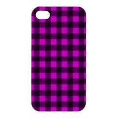 Magenta And Black Plaid Pattern Apple Iphone 4/4s Hardshell Case by Valentinaart