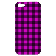 Magenta And Black Plaid Pattern Apple Iphone 5 Hardshell Case by Valentinaart