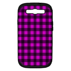 Magenta And Black Plaid Pattern Samsung Galaxy S Iii Hardshell Case (pc+silicone) by Valentinaart