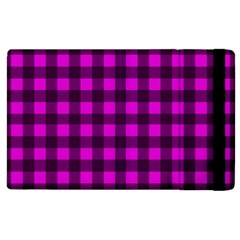 Magenta And Black Plaid Pattern Apple Ipad 2 Flip Case by Valentinaart