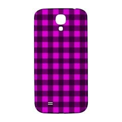 Magenta And Black Plaid Pattern Samsung Galaxy S4 I9500/i9505  Hardshell Back Case by Valentinaart