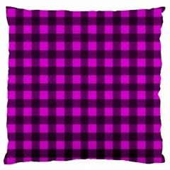 Magenta And Black Plaid Pattern Large Flano Cushion Case (one Side) by Valentinaart