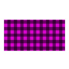Magenta And Black Plaid Pattern Satin Wrap by Valentinaart