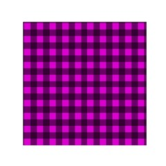 Magenta And Black Plaid Pattern Small Satin Scarf (square) by Valentinaart