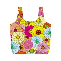 Floral Background Full Print Recycle Bags (m)  by Nexatart