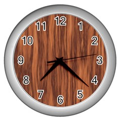 Texture Tileable Seamless Wood Wall Clocks (silver)  by Nexatart