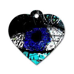 Blue Eye Dog Tag Heart (two Sides) by Valentinaart