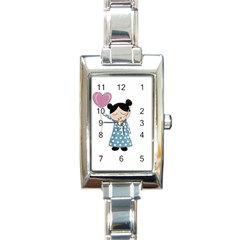 Valentines Day Girl Rectangle Italian Charm Watch by Valentinaart