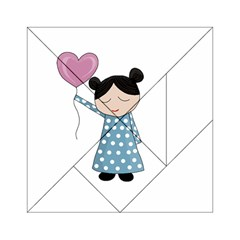 Valentines Day Girl Acrylic Tangram Puzzle (6  X 6 ) by Valentinaart
