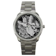 Mosaic Stones Glass Pattern Sport Metal Watch by Nexatart