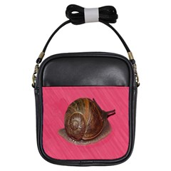 Snail Pink Background Girls Sling Bags
