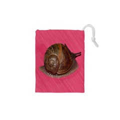 Snail Pink Background Drawstring Pouches (xs)  by Nexatart