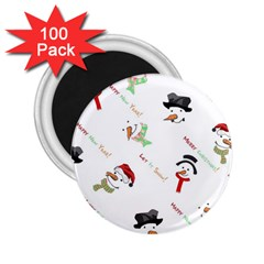 Snowman Christmas Pattern 2 25  Magnets (100 Pack)