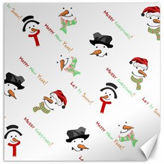 Snowman Christmas Pattern Canvas 12  X 12   by Nexatart