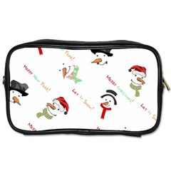 Snowman Christmas Pattern Toiletries Bags 2 Side by Nexatart