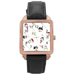 Snowman Christmas Pattern Rose Gold Leather Watch
