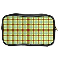 Geometric Tartan Pattern Square Toiletries Bags