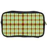 Geometric Tartan Pattern Square Toiletries Bags Front