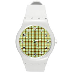 Geometric Tartan Pattern Square Round Plastic Sport Watch (m)