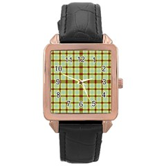 Geometric Tartan Pattern Square Rose Gold Leather Watch
