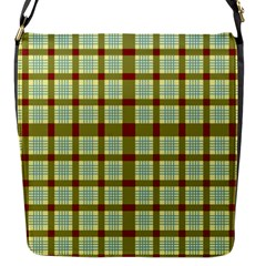 Geometric Tartan Pattern Square Flap Messenger Bag (s) by Nexatart