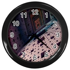 Industry Fractals Geometry Graphic Wall Clocks (black)