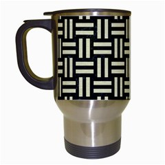 Woven1 Black Marble & Beige Linen Travel Mug (white) by trendistuff