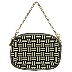 Woven1 Black Marble & Beige Linen Chain Purse (one Side) by trendistuff