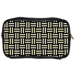 Woven1 Black Marble & Beige Linen Toiletries Bag (two Sides) by trendistuff