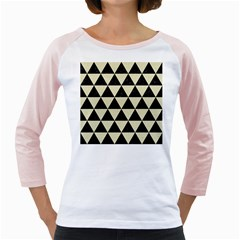 Triangle3 Black Marble & Beige Linen Girly Raglan by trendistuff