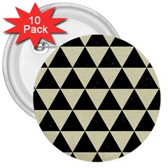 Triangle3 Black Marble & Beige Linen 3  Button (10 Pack) by trendistuff