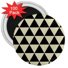 Triangle3 Black Marble & Beige Linen 3  Magnet (100 Pack) by trendistuff