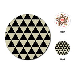 Triangle3 Black Marble & Beige Linen Playing Cards (round)