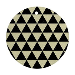 Triangle3 Black Marble & Beige Linen Round Ornament (two Sides) by trendistuff